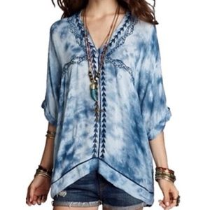 Free People Oversized Tie-Dye Embroidered Top
